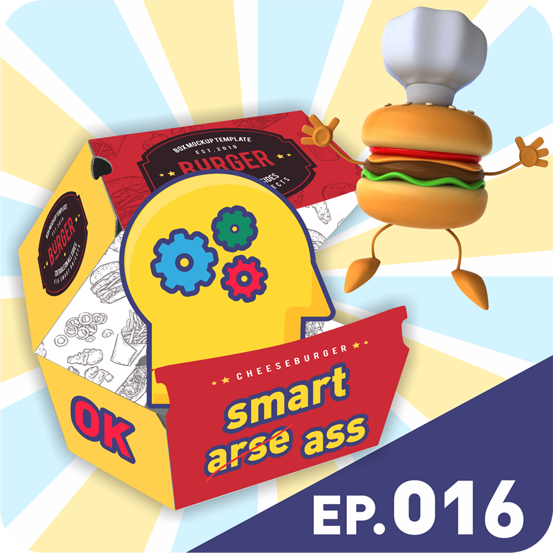 A dancing burger and a head in an OK Smart-ass burger box